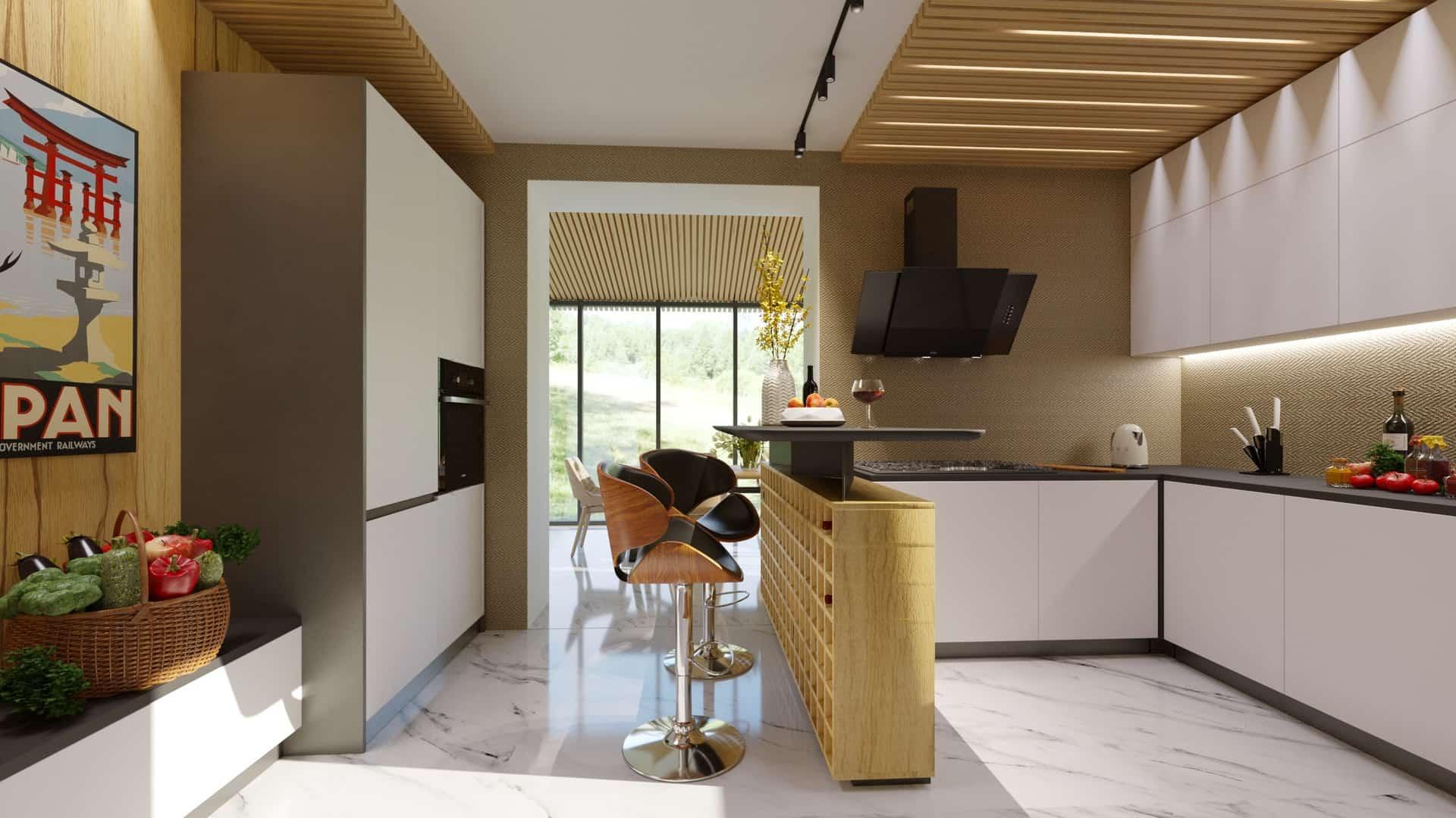 перспективный вид кухни столовой
