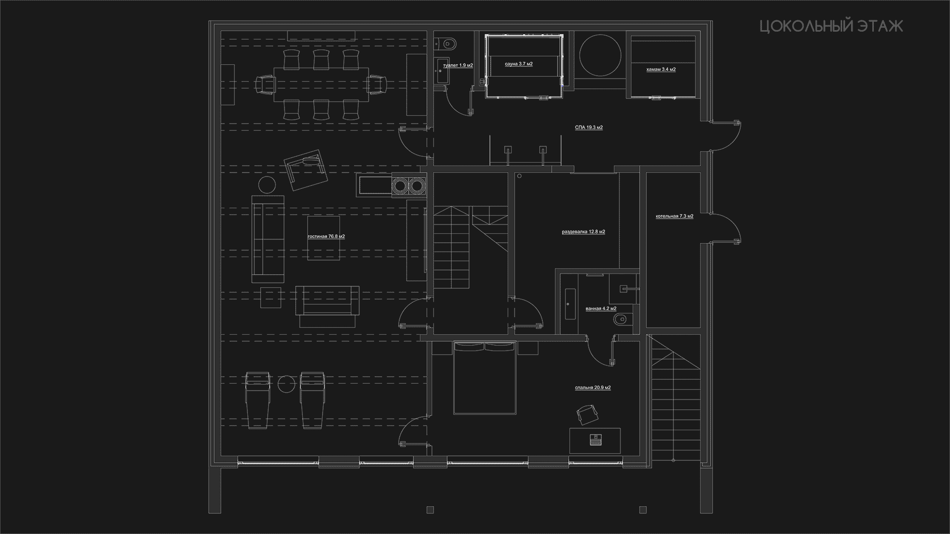 План цокольного этажа.. Загородного дома в посёлке Камешки.