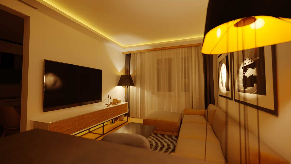 Гостиная искусственное освещение.