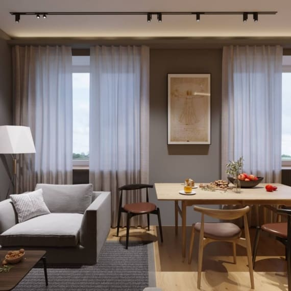 Современный интерьер гостиной совмещённой с кухней
