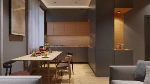 Объединение функций гостинной - столовой и кухни за счёт единого блока мебели.